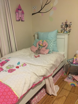 This is what a bed made by a 6 year old looks like